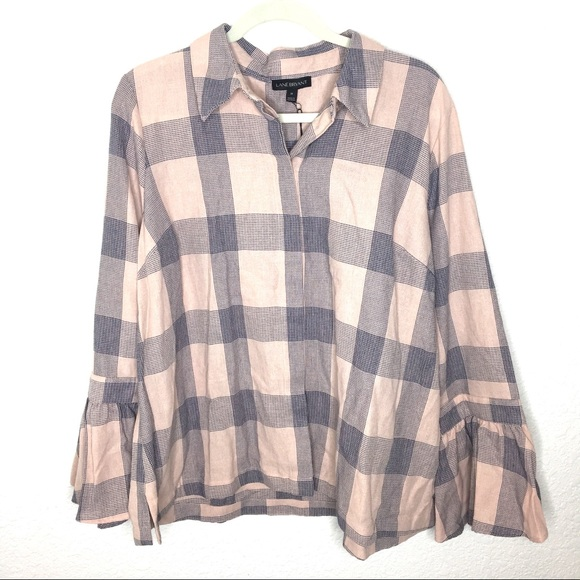 Lane Bryant Tops - Lane Bryant Pink and Navy Button Down Flannel NEW